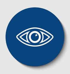 eye sign white contour icon vector image