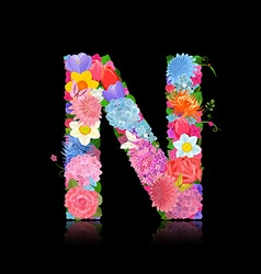 Fancy letter of beautiful flowers on black vector