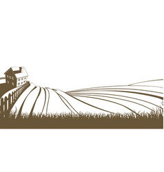 farm and rolling hills vector image