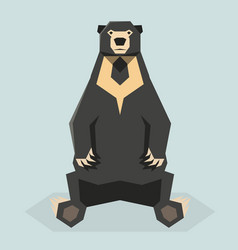 Flat polygonal sun bear vector