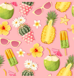 Flowers and exotic fruits seamless pattern vector