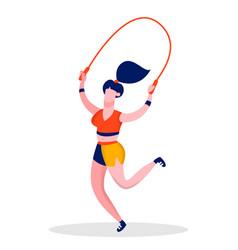 girl jumping skipping rope flat color vector image