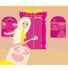 Girl on big shopping sale vector