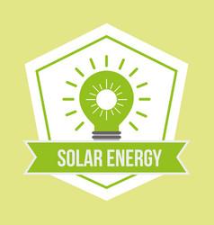 green light bulb solar energy emblem vector image