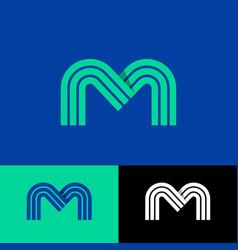 green m letter linear monogram vector image