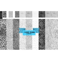 Hand drawn back and white patterns set vector