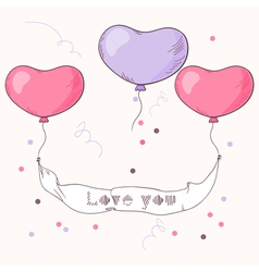 Hand drawn heart balloons holding ribbon vector image