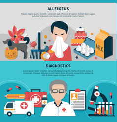horizontal allergy banners set vector image
