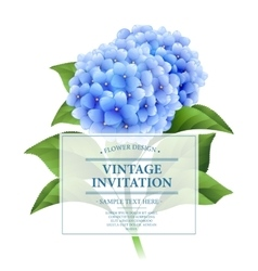 Invitation card Blue hydrangea flowers Vintage vector image
