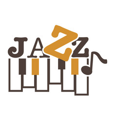 jazz music promotional emblem with piano keys and vector image