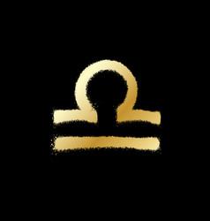 Libra zodiac sign gold paint sprayed icon vector