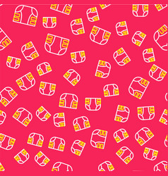 Line adult diaper icon isolated seamless pattern vector