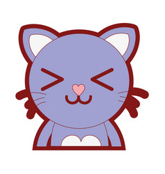 Line color happy cat adorable feline animal vector