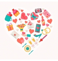 Love icons set in heart shape vector image