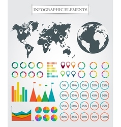 Map markers arrows pie for infographic vector