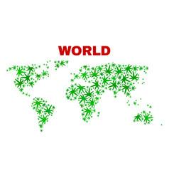 Marijuana leaves collage world map vector
