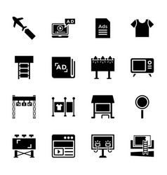 Marketing glyph icons vector