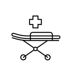 medical stretcher with bed and mat icon emergency vector image