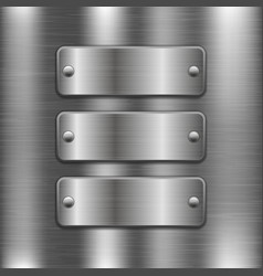 Metal plates with rivets on brushed iron vector
