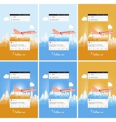 Mobile application and plane flying over the city vector