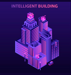 Modern intelligent building concept background vector