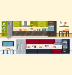 Modern kitchen horizontal banners vector