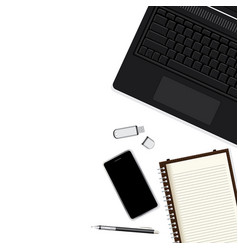 Modern workplace with black notebook smartphone vector