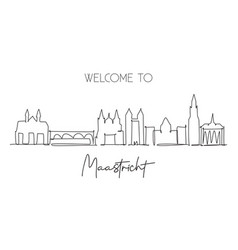 one single line drawing maastricht city vector image