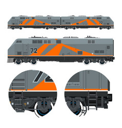 Orange locomotive rail transportation vector