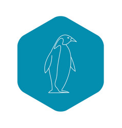 penguin icon outline style vector image