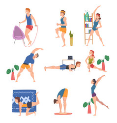 People doing morning workout indoor set physical vector