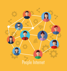 people internet connection network media community vector image