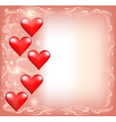 pink for Valentines Day with hearts and stars vector image