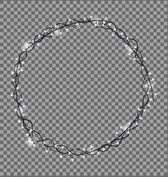 round frame made of christmas lights sparkling vector image