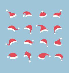 santa hat set isolated on blue background vector image