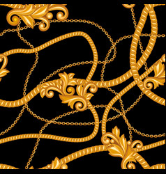 Seamless pattern with golden chains vector