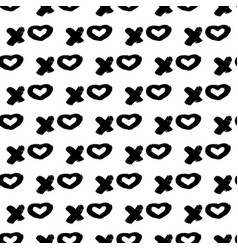 Seamless pattern xoxo with hearts on white vector