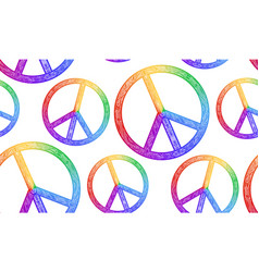 Seamless texture with rainbow symbol of peace and vector