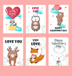 set love cards with cute animals vector image