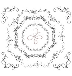 Set of decorative vintage frames and corners for vector