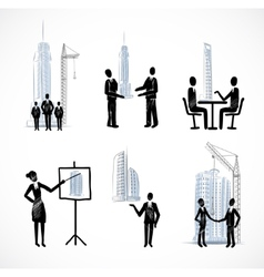 Set of the business people with buildings vector