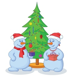 Snowballs and Christmas tree vector image