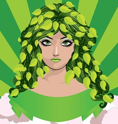 Spring girl with green leaves vector