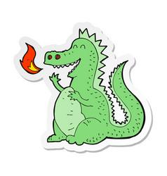 Sticker of a cartoon fire breathing dragon vector