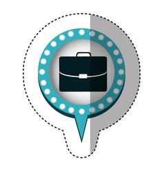 Sticker of executive briefcase and circular speech vector