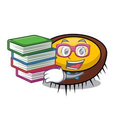 Student with book sea urchin mascot cartoon vector