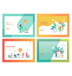 teamwork time management landing page template vector image