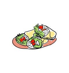 traditional mexican tacos hand drawn icon vector image