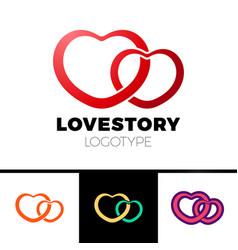 two hearts logo abstract symbol love logotype vector image