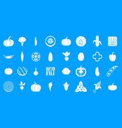 vegetables icon blue set vector image